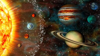Plakat Panoramiczny 3D Solar system