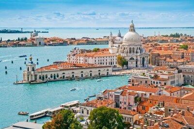 Plakat Panoramiczny z lotu ptaka pejzaż Wenecji z Santa Maria della Salute, Wenecja Euganejska, Włochy