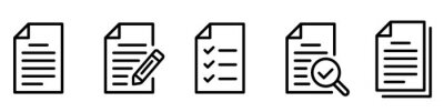 Plakat Paper documents icons. Line sumbol. File icon. Folded written paper. Line icon - stock vector.