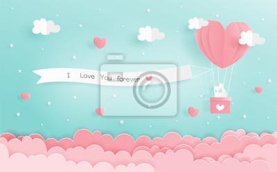 Plakat Papierowy origami miłości pojęcie z kierowymi balonami i signboard obwieszenie w niebie, walentynki i ślubnej karcie w papieru cięcia stylu wektorze.