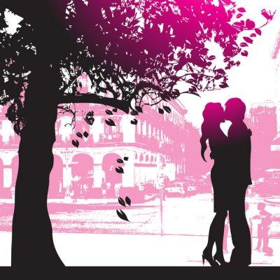 Plakat Para pod drzewem w parku miejskim