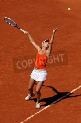 Plakat PARIS - 1 czerwca: Agnieszka Radwańska Polski zaprasza na French Open, Roland Garros w dniu 1 czerwca 2009 roku w Paryżu, we Francji.