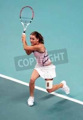 Plakat PARIS - 13 lutego: polska tenisistka Agnieszka Radwańska zwraca kulka podczas jej kwartał meczu finałowym w turnieju Open GDF SUEZ WTA, Pierre de Coubertin Stadion 13 lutego 2009 roku w Paryżu, we Fra