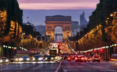 Plakat Paris, Champs-Elysees at night
