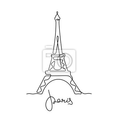 Plakat Paris, Eiffel Tower continuous line vector illustration
