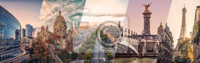 Plakat Paris famous landmarks collage
