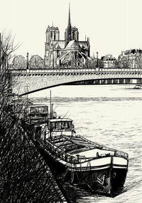 Plakat Paris - Ile de la Cité - barki