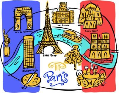 Plakat Paris Oznacz Mapa