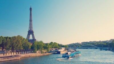 Plakat Paris panoramę z wieży Eiffla i Sekwany
