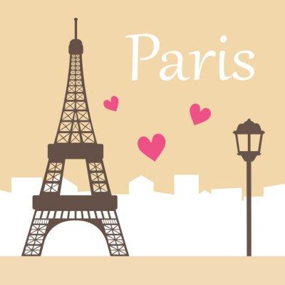 Plakat Paris pocztówka, ilustracji wektorowych.