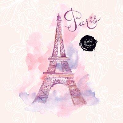 Plakat Paris. Vector Ilustracja akwarela