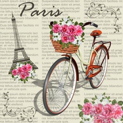 Plakat Paris vintage poster.Newspaper background.