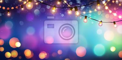 Plakat Party - kolorowe Bokeh i światła retro sznurkowe w tle uroczysty