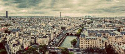 Plakat Paryż, Francja panorama z wieży Eiffla, Sekwany i mostów. Zabytkowe