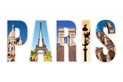Plakat Paryż litery z pomników na białym tle