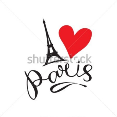 Plakat Paryż ręcznie użyty wektor napis i Eiffer Tower. Nowoczesny pędzel kaligrafii napis. Napis z tuszem paryskim. Element projektu do karty, banery, ulotki, napis Paryż na białym tle.