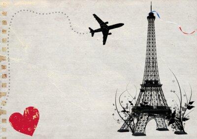 Plakat Paryż Wieża Eiffla pusta karta