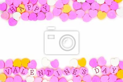 164c4cc64cd33 Plakat Pastel kolorowe cukierki serca z tekstem Happy Valentines Day  tworząc podwójne obramowanie nad białym