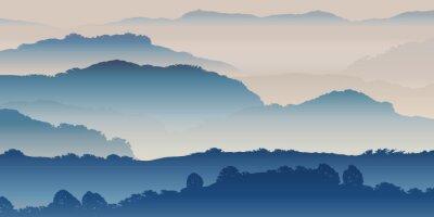 Plakat Paysage Montagnes-Brume