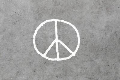 Plakat peace sign rysunek na szarym betonowym murem