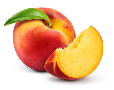 Plakat Peach isolate. Peach slice. Peach with leaf on white background. Full depth of field. With clipping path.