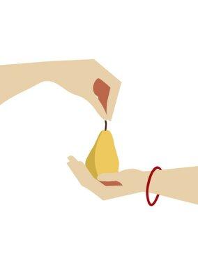 Plakat pear minimalism hand