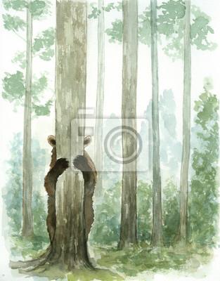 Plakat peekaboo bear in forest watercolor
