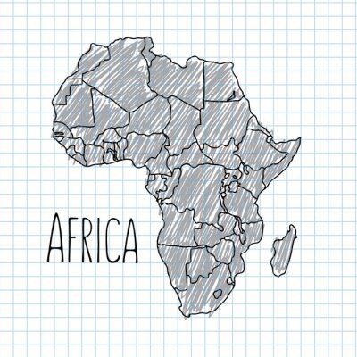 Plakat Pen hand drawn African map vector on paper illustration