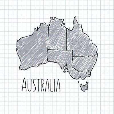 Plakat Pen hand drawn Australia map vector on paper illustration