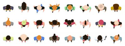 Plakat People top view. Male and female characters view from above, walking, standing men and women. Top view people poses vector illustration set. Male and female people top view