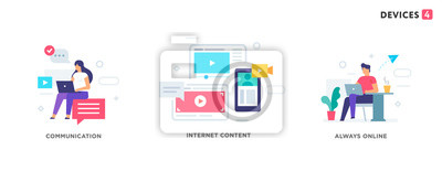Plakat People use gadgets. set of icons, illustration. Smartphones tablets user interface social media.Flat illustration Icons infographics. Landing page site print poster.