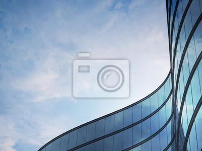 Plakat Perspektywa wysokiego budynku i ciemnego systemu okien stalowych z chmurami odzwierciedlenie na szkle. Koncepcja biznesowa przyszłej architektury, lookup do kąta rogu budynku. 3d rendering