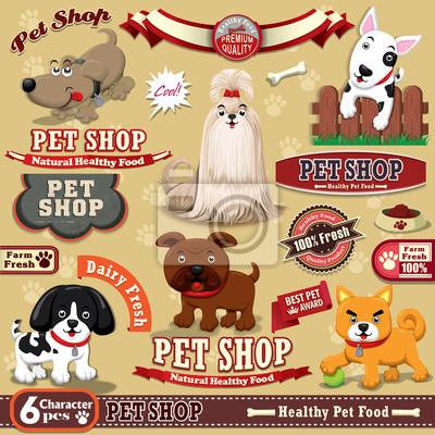 Pet Shop w stylu vintage element projektu plakatu