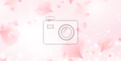 Plakat Petals of pink rose spa background. Realistic flying sakura cherry flower elements for romantic banner design.