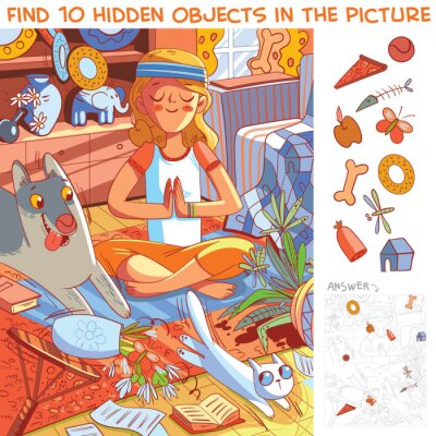 Plakat Pets destroy house. Find 10 hidden objects