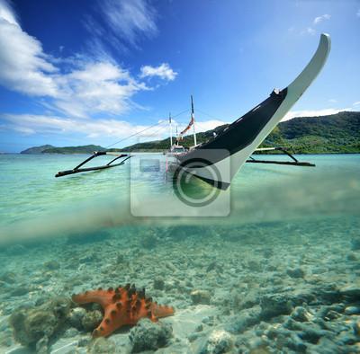 Philippine przy łodzi na tle zielonej wyspy i ul