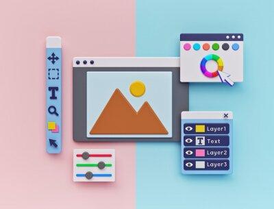 Plakat Photo Editing Software concept. minimal design. 3d rendering