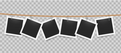 Plakat Photo frame hanging by clip on rope. Realistic blank photography templates on transparent background. Square pictures attached to thread in line. Exhibition mockup with copy space. Vector snapshot