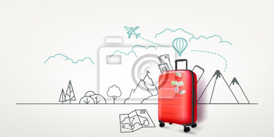 Plakat Photoreal red suitcase with cityscape background. World travel vector concept