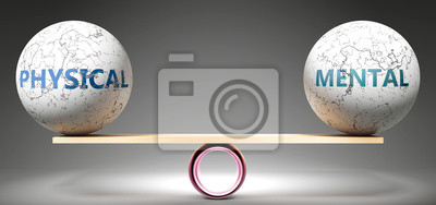 Plakat Physical and mental in balance - pictured as balanced balls on scale that symbolize harmony and equity between Physical and mental that is good and beneficial., 3d illustration