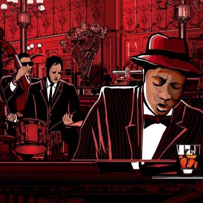 Plakat piano-Jazz band w winiarni