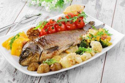 Plakat pieczone ryby z warzywami