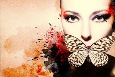 Plakat Piękna kobieta, Grafika tuszem w stylu grunge
