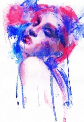 Plakat Piękna kobieta. Ręcznie malowane ilustracji mody