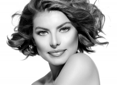 Plakat Piękna młoda kobieta w czarno-biały portret. Krótkie Włosy kręcone