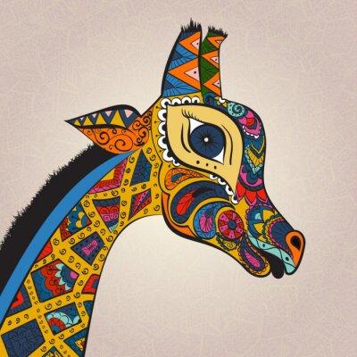 Plakat Piękne dorosłych Żyrafa. Ręcznie rysowane ilustracji ozdobnych żyrafy. Barwne żyrafa na tle ozdobnych