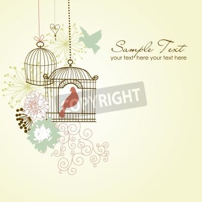 Plakat Piękne karty z dwoma ptakami