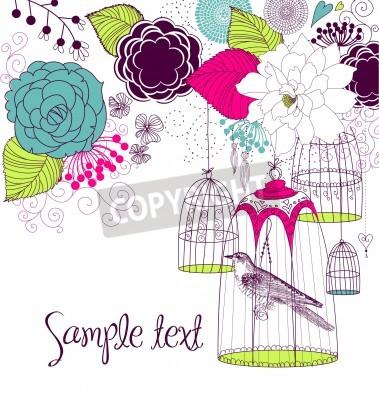 Plakat Piękne karty z ptaszkiem w klatce
