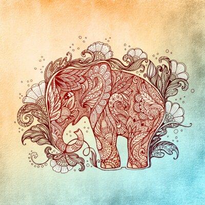 Plakat Piękne ręcznie malowane słonia z ornamentem roślinnym