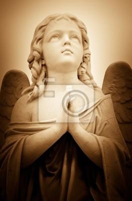 Plakat Piękne zabytkowe obraz anioła modlitwy w odcieniach sepii